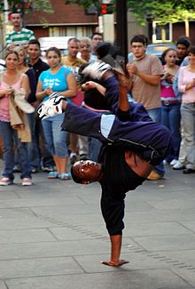 Breakdancer - Faneuil Hall.jpg A b-boy performing outside Faneuil Hall, Boston, MA, United States Genre	Hip-hop dance Inventor	Street dancers from New York City Year	1970 Country	United States