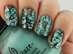 Spektor's Nails: Deadly Sins Challenge - Day 13: Pride (Turquoise Stone - Water Spotted Nails)