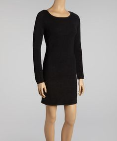 Look what I found on #zulily! Black Ribbed Wool-Blend Long-Sleeve Dress by Julia Jordan #zulilyfinds