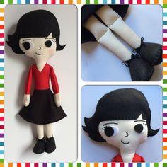 """Boneca do personagem Amélie Poulain, protagonista do filme """"O fabuloso destino de Amélie Poulain"""". <br>Feita em tecido e feltro, costurada totalmente a mão."""