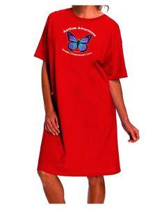 TooLoud Autism Awareness - Puzzle Piece Butterfly Dark Adult Night Shirt Dress