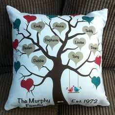 Personalised Family Tree Cushion by LollipopsandBubbles on Etsy