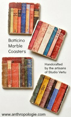 Botticino Marble Book Coasters handcrafted by the artisans  of Studio Vertu via Anthropologie