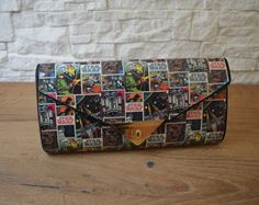 """Custom Handmade Envelope Clutch """"Retro comic book Star Wars"""" theme Handmade Envelopes, Handmade Bags, Valentine Day Gifts, Valentines, Special Occasion Shoes, Envelope Clutch, Bag Making, Decoupage, Comic Books"""