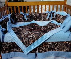 Real Tree Max 4 camouflage camo Crib Bedding Set w/ baby blue minky dot fabric #KustomKidsBedding