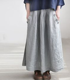 Linen big pocket long skirt by MaLieb on Etsy, $75.00