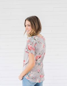 Gray Floral T Shirt from Bella Ella Boutique Utah Clothing Boutique. Womens Online Clothing Boutique. Modest Womens Clothing Boutique. Pink and Gray Floral Shirt. Spring Fashion.