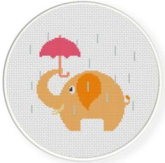 FREE for April 17th 2014 Only - Elephant with Umbrella Cross Stitch Pattern