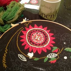 Early morning sewing! #swedishembroidery #embroidery