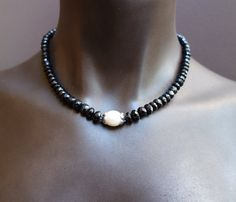 Faceted Black Tourmaline Necklace With White Rice Pearl Center