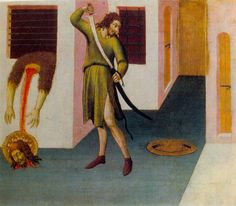 Beheading of St. John the Baptist, tempera on wood by Sano di Pietro, 1406-1481,  Pietro, an Italian painter and illuminator, also was known for frescos. The above panel is thought to be part of a predella, which is the base of an altarpiece decorated with small paintings and reliefs.  This work is in the Pushkin Museum in Moscow, Russia