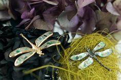 Gentileschi #LeBronzerie. Libellule in Bronzo con mosaico di diamanti flat fancy color