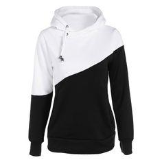 Pullover Drawstring Color Block Hoodie - Black - Xl