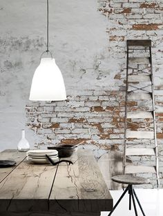 An exposed brick wall in a room doesn't always mean industrial. Moreover if we talk about the specific white brick wall, the style and design it suits will be way more than just one kind. The range is wide as . Design Industrial, Industrial Living, Industrial Style, Kitchen Industrial, Vintage Industrial Decor, Industrial Interiors, White Brick Walls, Exposed Brick Walls, Brick Texture