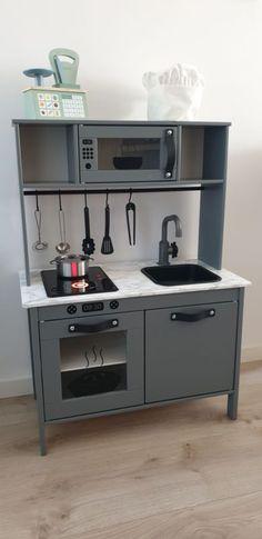 Ikea Kids Kitchen, Duktig, Kitchen Cabinets, Kitchen Appliances, Black Wood, Diy For Kids, Kids Playing, Baby Room, Playroom
