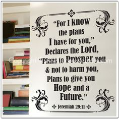 Jeremiah Scripture - Bible Verse Text Wall Word Decals. $38.00, via Etsy.