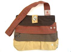 Upcycled/Recycled Sweater Bag/ Purse in Earth Tones (Orange, Brown, Yellow) ~ from Men's Dress Shirt Cuffs on Etsy, $36.00