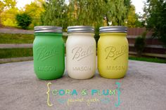 Yellow Green Shabby Chic Painted Mason Jars Fall Wedding Centerpieces Bridal Shower Neutral Baby Shower on Etsy, $16.50