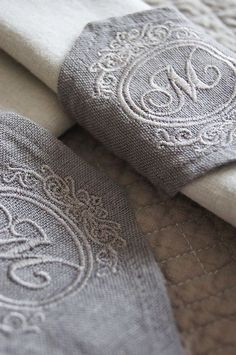 Embroidered Burlap!  This is gorgeous!!