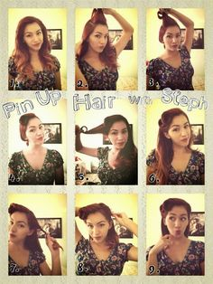 Pin up Hair tutorial! Rock Hairstyles, 1940s Hairstyles, Wedding Hairstyles, Rockabilly Hair Tutorials, Ballroom Hair, Pin Up Hair, Bleached Hair, Hair Day, Hair Designs