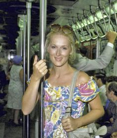 meryl streep rides the subway.