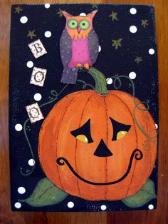 BOO Owl 5x7 Canvas Acrylic Mixed Media Painting by bywayofsalem, $24.00