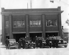 Provo Fire Station (1937) This picture shows four vehicles and eight firemen standing in front of the Provo Fire House.