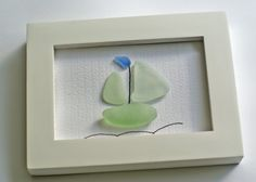 Sea Glass Sail Boat Framed Art