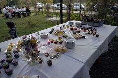 Mesa dulce lista para arrancar. Minicakes, muffins con los colores del evento verde agua y lila.