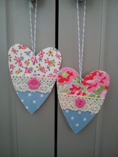 Handmade wooden hearts made with Cath Kidston fabrics, lace & buttons