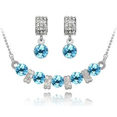 free shipping top quality asutrain crystal multi colorful fashion jewelry Set Necklace Earrings wedding white Gold plated Zircon