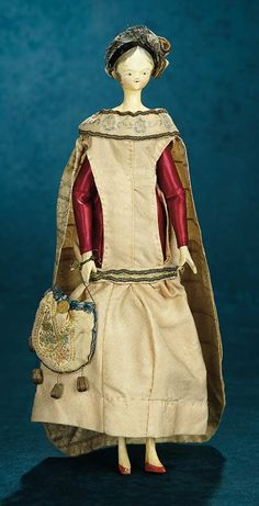 Grodnertal Wooden Doll, circa 1840~Image © Theriault's.