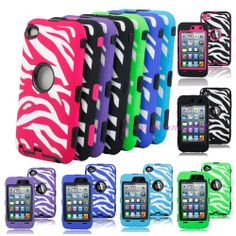 Deluxe Zebra Pattern 3in1 Hard Rubber Case Cover Skin for iPod touch 4 4TH Gen