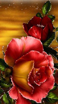 Very beautiful gif Beautiful Rose Flowers, Flowers Gif, Beautiful Flowers Wallpapers, Beautiful Butterflies, Pretty Flowers, Glitter Flowers, Beautiful Love Pictures, Beautiful Gif, Flower Images