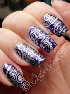 Kodachis Nailart - Astor - Berry Cocktail + Silver Stamping Moyou London