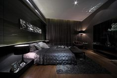 Modern Drama Interior in Luxurious Home Living: High Drama Interiors Darkened Slate Bedroom Steve Leung ~ apcconcept.com Luxury Home Designs Inspiration