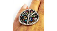 Outlined 13 Color Mix Multi Color Peace Stretch Ring 13 colors Mix Rhinestone $9.56