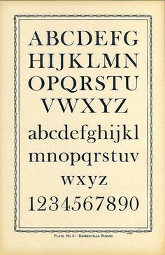 Type Charts 6 Baskerville front. John Baskerville cut this typeface named after him in 1754
