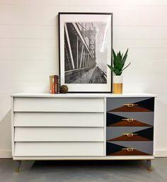 Mid Century Modern with geometric drawers.
