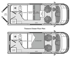 """Whether your treasure is finding the perfect fishing spot, getting a photo of a certain bird, or finding the perfect sunset, the Treasure Chaser is the tool to get you there. Built on the Dodge Promaster 136"""" high roof van, you can travel in style with great viewing windows while chasing your treasure. It also comes equipped with a single-burner electric stove top, fridge, kitchen sink with hot water and inverter."""