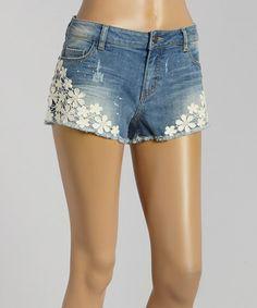 This Light Stone Wash Crochet Camille Denim Shorts is perfect! #zulilyfinds
