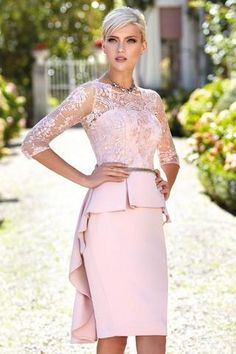 Peplum Pink 2019 Mother Of The Bride Dresses Lace Appliqued Long Sleeve Wedding Guest Dresses Jewel Neck Cheap Evening Gowns Mother Of Bride Outfits, Mother Of Groom Dresses, Mothers Dresses, Trendy Dresses, Elegant Dresses, Beautiful Dresses, Nice Dresses, Cheap Evening Gowns, Evening Dresses