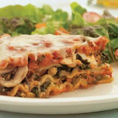 Sausage, Mushroom & Spinach Lasagna.This cheesy lasagna is full of spicy Italian turkey sausage, whole-wheat noodles, mushrooms and spinach. A serving of this version has about one-third the fat and saturated fat, and only half the calories of the original. Use soy-based sausage for a hearty vegetarian variation.