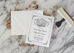 Garden Roses Save the Date Invitation Stamp by SubstationPaperie