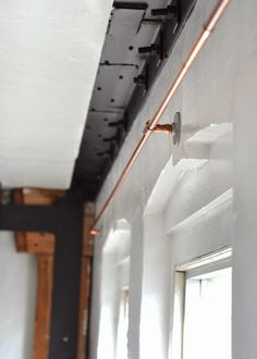 curtain rod made from copper pipes