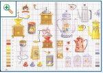 Motivos cocina en punto de cruz, cafetera, tetera… esquemas gratis | En Punto de cruz