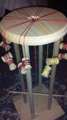 Picture of Quick, Sturdy Wooden Marudai (for Japanese Kumihimo Cord Braiding) - how to make one.