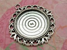 10 x Pendant Setting, Antiqued Silver Cabochon Tray BUS06-17