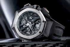 "Audemars Piguet Royal Oak Concept Laptimer Watch With Dual Seconds Chronograph - by David Bredan - see more & learn about its first-of-its-kind complication on aBlogtoWatch.com ""This is the Audemars Piguet Royal Oak Concept Laptimer, a brand new 'RO Concept' that I feel may very well be the most striking Royal Oak iteration since the Offshore Survivor. As its name suggests, this brand new, highly complicated movement was created to be able to measure and record a series of consecutive lap…"