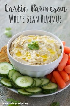 This Garlic Parmesan White Bean Hummus is a healthy and delicious snack that's perfect with your favourite veggies, crackers or pita bread! Looking for more great snack recipes? Try my Easy Guacamole or this amazing Corn, Avocado and Black Bean Salsa! Hungry for more? Follow me! Like my page on Facebook!   Subscribe! Click here...